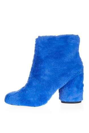 topshop bottines poilues bleues