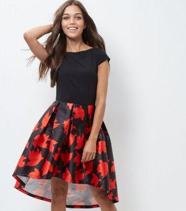 cameo-rose-black-leaf-print-skater-dress