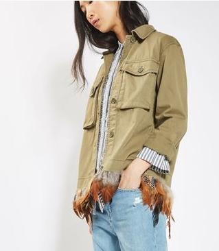 veste kaki avec plumes asos