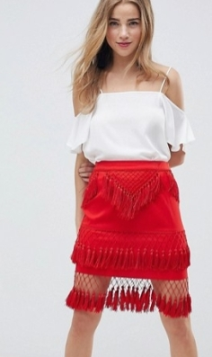 mini jupe franges rouge asos
