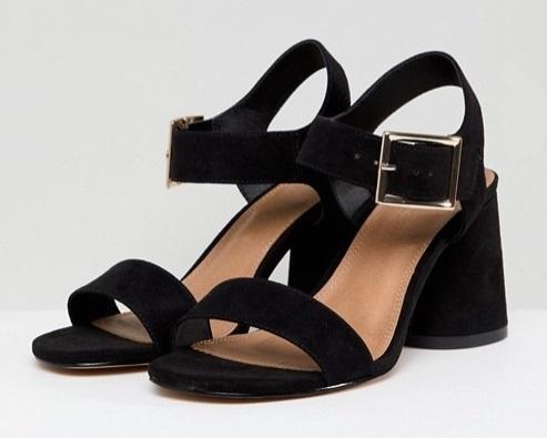 sandales noires talons carrés asos